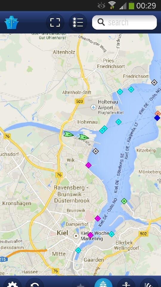 Marine Traffic, die Android-App (Screenshot)